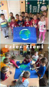 Przedszkolaki z plakatem wykonanym z okazji Dnia Ziemi