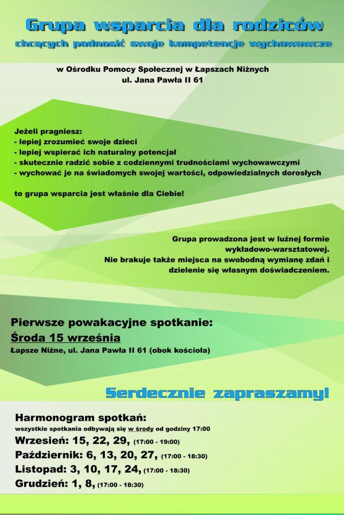 Plakat informacyjny grupy wsparcia rodzin